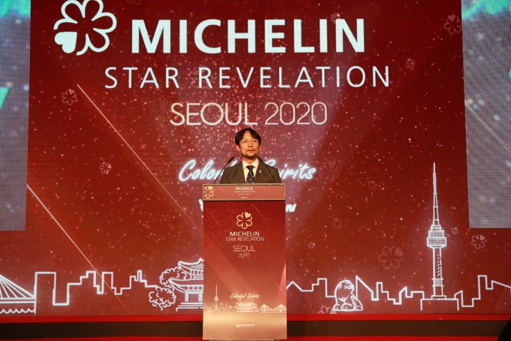 MD of Michelin Korea Juheang Lee makes the opening speech at the MICHELIN Guide Seoul 2020 Gala Dinner.