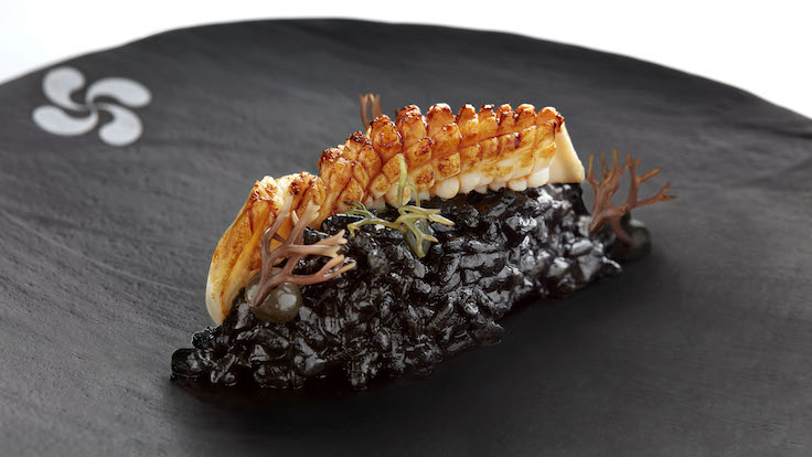 """Arroz de Txipis"", Squid iInk Rice, Black Sesame Aioli, Kabayaki BBQ Squid (Pic: Basque Kitchen By Aitor)"