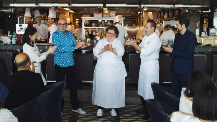 Valeria Piccini (centre) and Tosca di Angelo head chef Angelo Agliano (second from right) with Gems and Pearls series organisers Andrea Petrini and Florent Bonneboy. (Pic credit: Ritz Carlton Hong Kong)