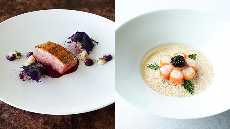 "Left: Le Normandie's 'Canard Challandais', featuring with Roasted Challans Duck, red cabbage and walnut. Photo source: Le Normandie's Facebook page.<br>Right: Botan Ebi ""Slightly Cooked"" with Spot Prawn, Caviar, Carrot, and Saffron bisque is a sophisticated affair; fragrant orange oil and crunchy carrot. Photo source: Mezzaluna's Facebook page."