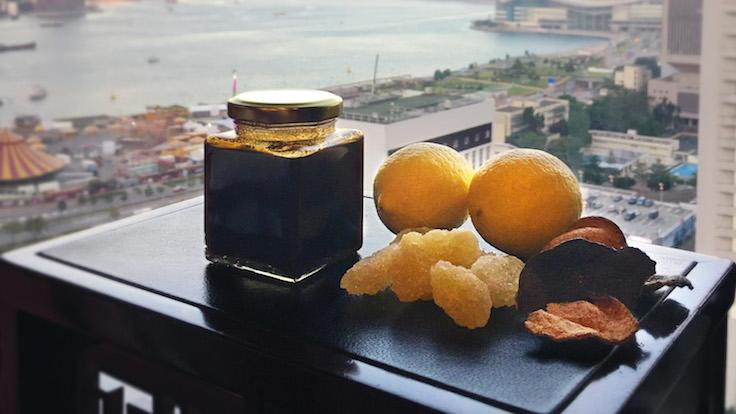 The tangerine peel and rock sugar syrup made by Wong Wing Keung.