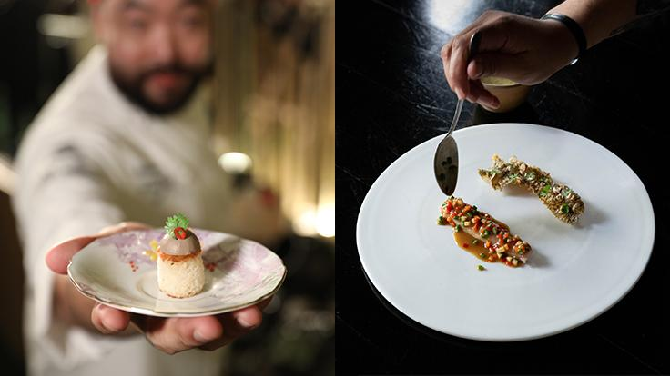 Left: Chef Andy's Chicken Liver and Hin Lard Nai Honey appetizer for the MICHELIN Star Revelation Thailand 2020 gala dinner<br> Right: Chef Joe's and Chef Saki's Local Grouper, In House Miso, Ginger, Fish Crackling, Jasmine Rice, Oolong Jasmine Tea dish from their monsoon menu. Photo source: 80/20's Facebook page.