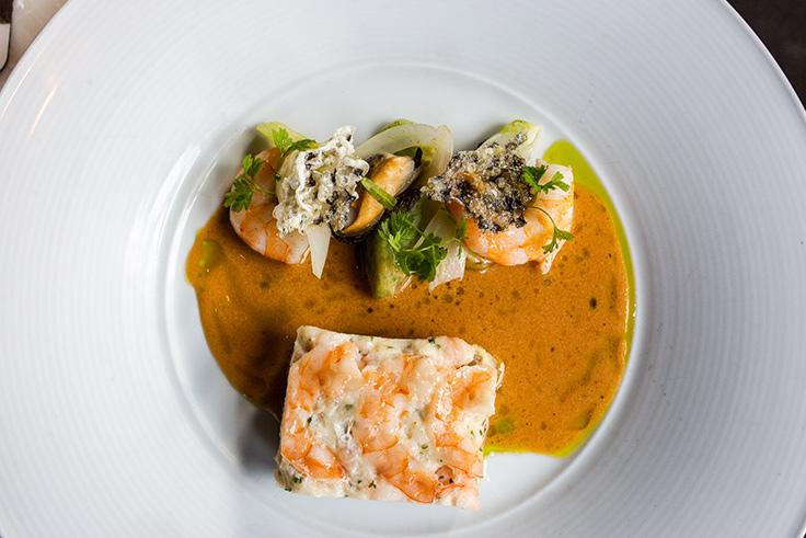 Stone bass with shrimp and sauce nantu. (Photo courtesy of Sepia.)