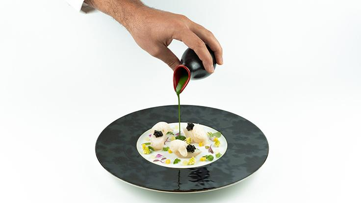 John Dory, Caviar Imperial de Sologne.<br><b>Cover picture</b>: Seared foie gras.</i><br>Photos source: Chef's Table.