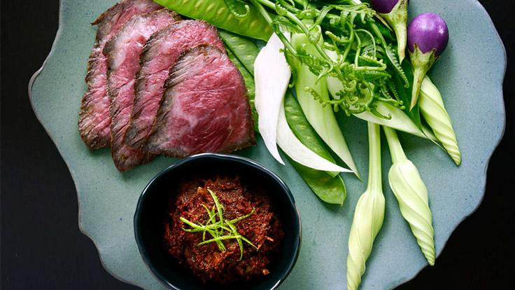 Grilled wagyu beef brunt relish. Photo source: Nahm.