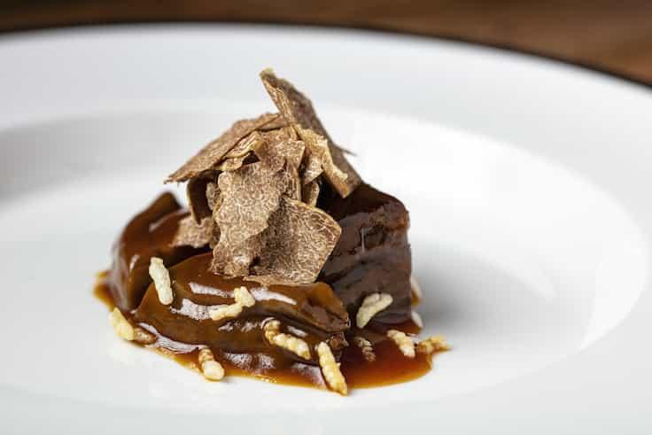 Slow Cooked Westholme Beef Cheek with Dried Abalone and White Truffle from chef Kelvin Au Yeung, Jade Dragon.