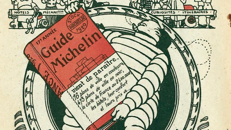 Affiche publicitaire pour le Guide MICHELIN 1920. Prix de vente : 7 francs.