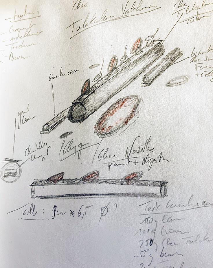 Chez Nicolas Multon, toute conception de dessert commence... par un croquis ! ©MICHELIN