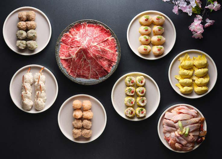 Some of the premium ingredients and handmade dishes for Man Fu Yuan's steamboat. (Pic: InterContinental Singapore)