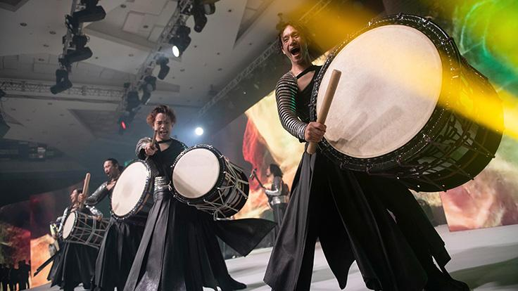 Award-winning Japanese drum and dance ensemble DRUM TAO delivered a rousing performance between courses.