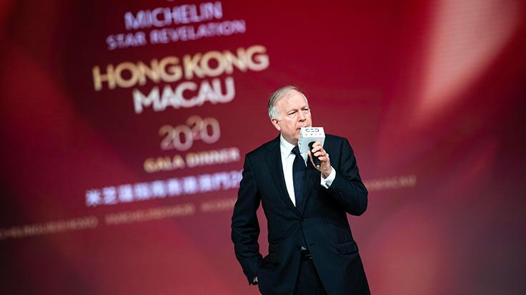 David Sisk, Property President of City of Dreams Macau, delivers a welcome speech and highlighted the resort's commitment to sustainability through its use of electric cars, solar panels and other practices.