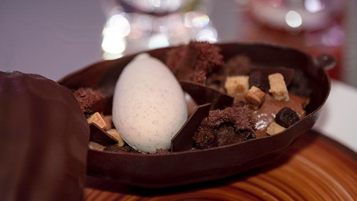 Renowned French pastry chef Pierre Hermé's dessert of single origin Peruvian chocolate and organnic Madagascar vanilla.