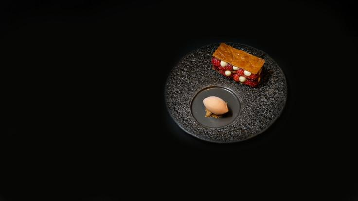 The mille feuille is filled with salted vanilla cream paired with acerola sorbet. (Photo: Akira Back Singapore)