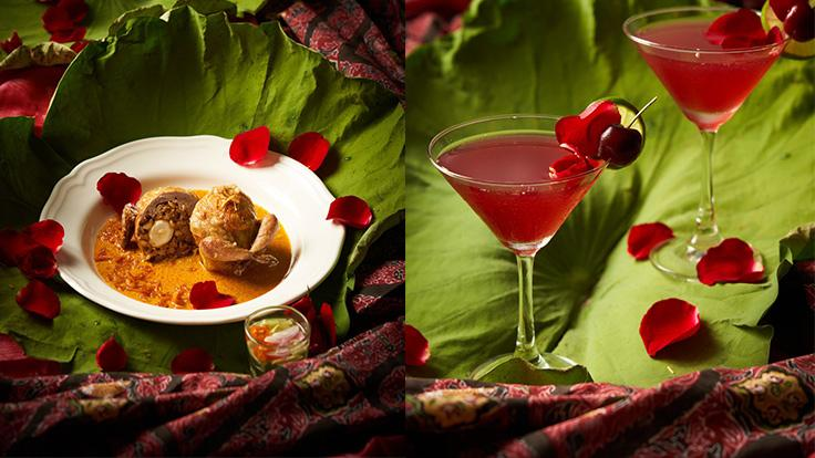 Stuffed Quail in Yellow Curry Sauce and Cosmo de Amour. (Photos: Khao)