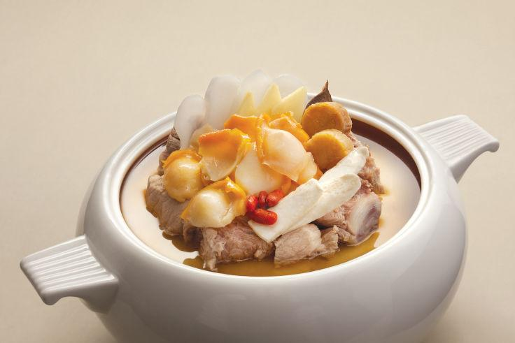 Double Boiled Sea Whelk Soup with Sea Coconut and Pork is an item available on Tsui Hang Village's takeaway menu (Photo: Tsui Hang Village)