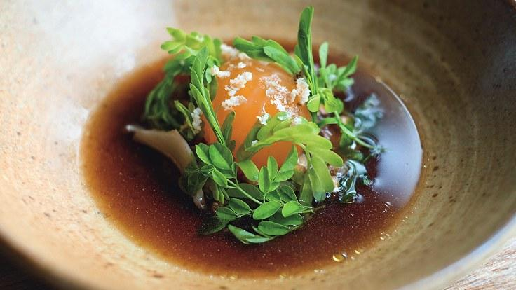 Pickled duck egg, a signature dish by Chef Jim Ophorst of Pru.