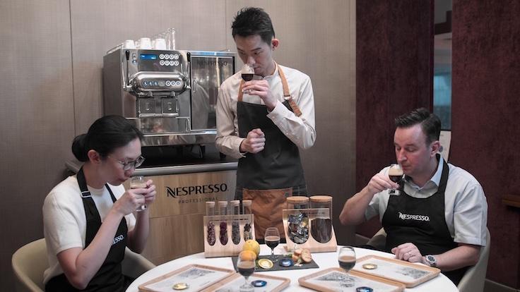 The chefs of Les Amis participate in the Nespresso coffee masterclass (Photo: MICHELIN Guide Digital)