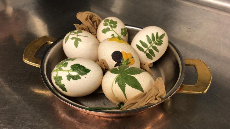 用絲襪把貼上葉子的雞蛋盛好,便可以加到洋蔥水中染色了