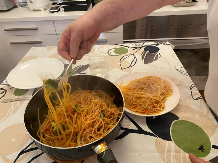 Chef Umberto Bombana makes pasta at home (Photo: Umberto Bombana)