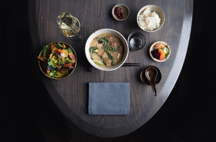 Recently, the take-out menu at SingleThread featured a gingery chicken meatball hot pot (nabe) with silky house made tofu and farm vegetables. Photo Credit: Colin Peck