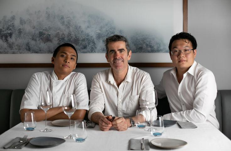 (From left) Cornerstone Head Chef Neal Ledesma, founder Shane Osborn, and sommelier Didier Yang (Photo: Dishtag)