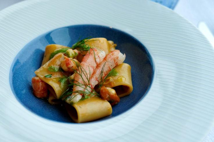 Mezzi Paccheri Pasta With Sicilian Red Shrimps at Tosca di Angelo (Photo: Tosca di Angelo)