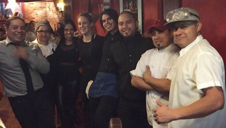 Soraya Rendon (third from left) had to release most of her staff when restaurants were ordered to stop dine-in service. Photo courtesy of Chilam Balam Restaurant.