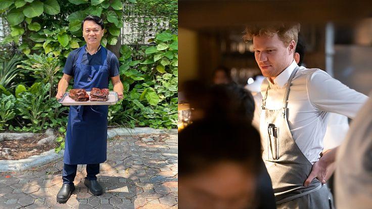 เชฟเอียน กิตติชัย แห่งร้าน Issaya Siamese Club และเชฟ Riley Sanders แห่งร้าน Canvas ในกรุงเทพฯ (© Issaya Siamese Club / MICHELIN Guide Thailand)