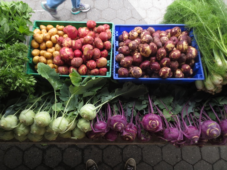 A selection of produce at the Norwich Meadows Farm Union Square Greenmarket Stand. Photo courtesy of Brant Shapiro of Norwich Meadows Farm.