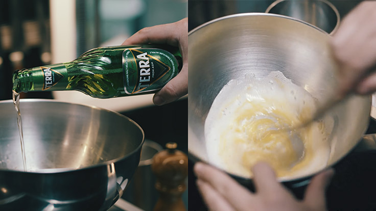 Lee uses the deep flavor of the Terra beer to enhance the egg yolk-based French sabayon sauce for his dish