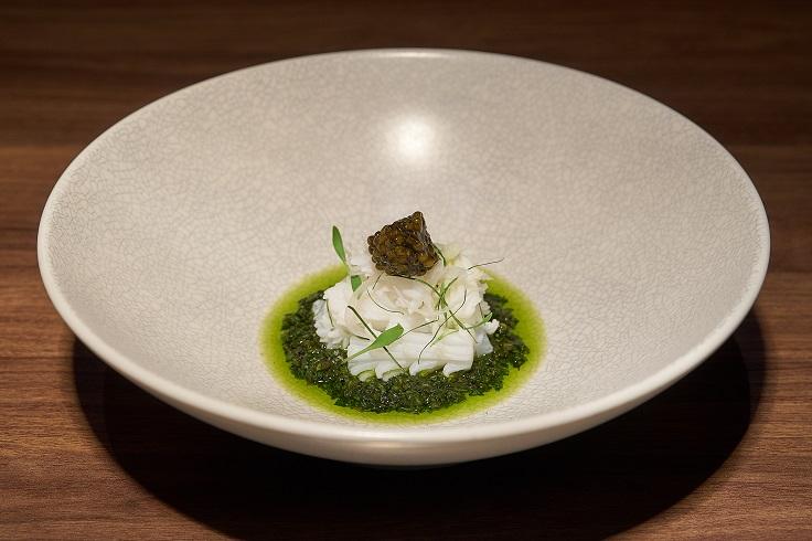 Restaurant Ibid Local Squid, Taiwanese Basil and Caviar (Photo: Restaurant Ibid)