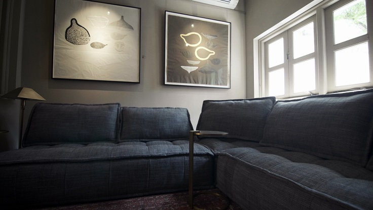 Appetite's lounge space hosts regular art exhibitions. Seen here are works featuring the female form from Thai conceptual artist Pinaree Sanpitak