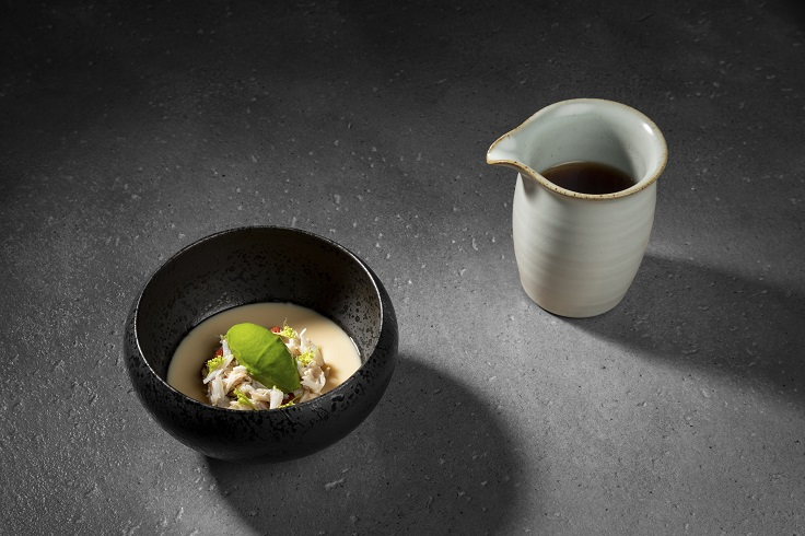 logy's signature chawanmushi has been on its menu since its opening and features warm steamed egg topped with an ice cream of Angelica and beef broth. (Photo: logy)