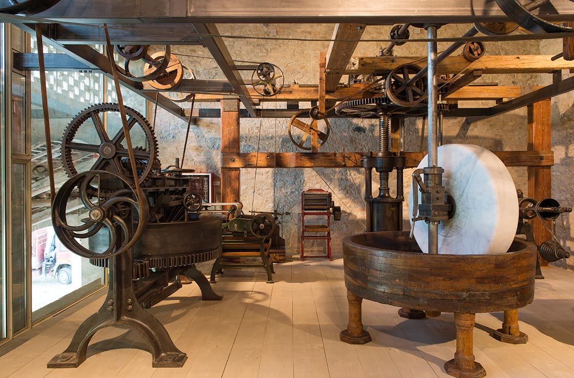 Machinery from a pasta factory dated 1850, Museo della Pasta, Collecchio, Musei del Cibo della Provincia di Parma. Photo by Luca Rossi, courtesy of Musei del Cibo della Provincia di Parma.