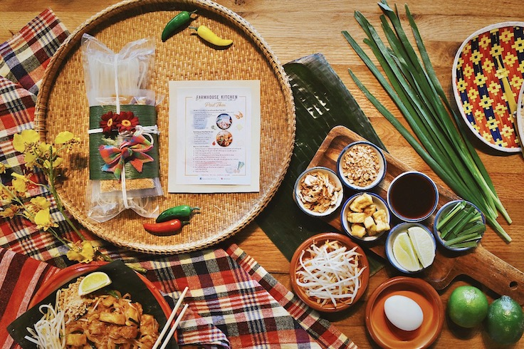 The pad Thai kit from Farmhouse Kitchen in San Francisco comes with rice noodles, sauce and garnishes and is accompanied by step-by-step instructions. Photo courtesy of Farmhouse Kitchen restaurant.