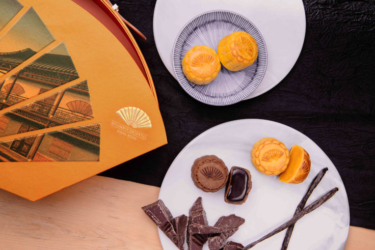 Mooncakes at Mandarin Oriental, Hong Kong are packed in the hotel's signature, unmistakable fan-shaped box (Photo: Mandarin Oriental, Hong Kong)