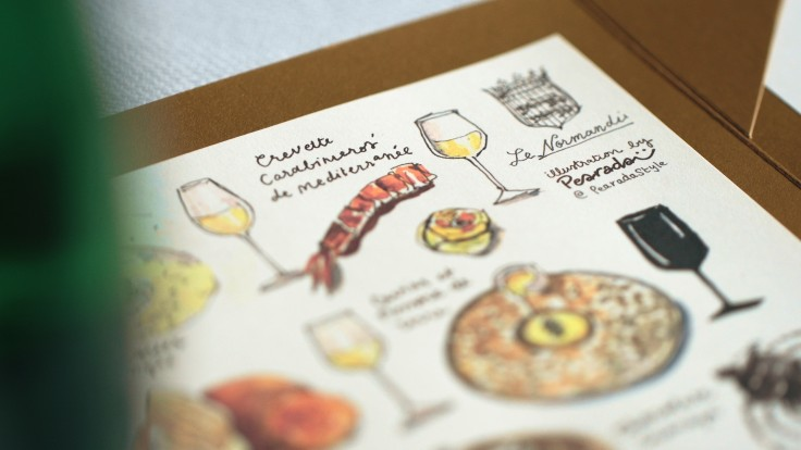 Le Normandie's hand-drawn menu featuring sketches of its French ingredients by a local Thai artist