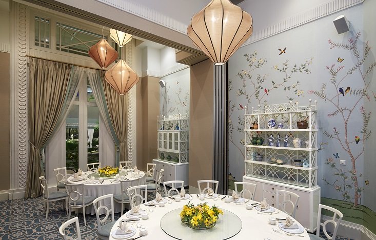 Choose from two private dining rooms (as shown) and two partitioned areas at Jade. (Photo: The Fullerton Hotel Singapore)