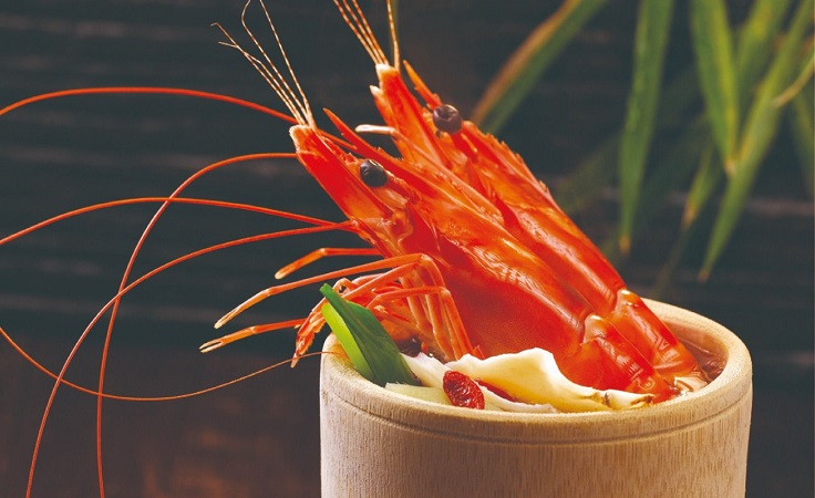 Signature dish: Bamboo Herbal Prawn, in a broth redolent with herbs such as angelica root, infused with Chinese wine.