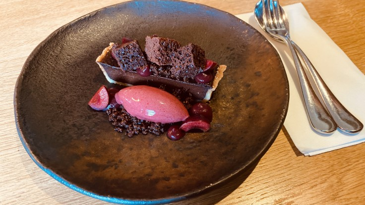 70% Saint Dominique Chocolate Tart, Cherry Sorbet