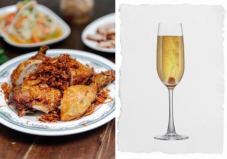ไก่ทอดตำรับลับของเจ๊กีกับเครื่องดื่มใสซ่าจากไทยสไปซ์รัมอย่าง Mekhong Sparkling  (© อนุวัฒ เสนีวงศ์ ณ อยุธยา / MICHELIN Guide Thailand / Mekhong)