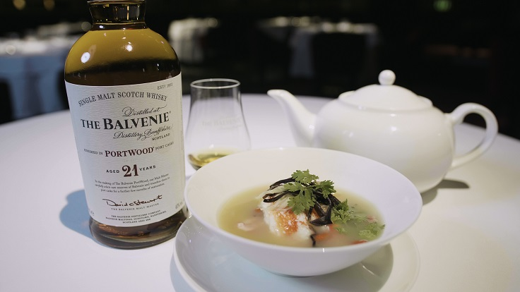 Bridges Alaskan Crab Soup paired with Balvenie 21 Year Old PortWood
