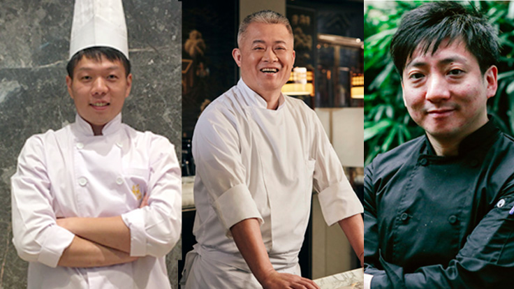 From left: Jardin de Jade's chef Chen Tian Lung, The Legacy House's chef Li Chi Wai, and chef Li Man Lung at Duddell's