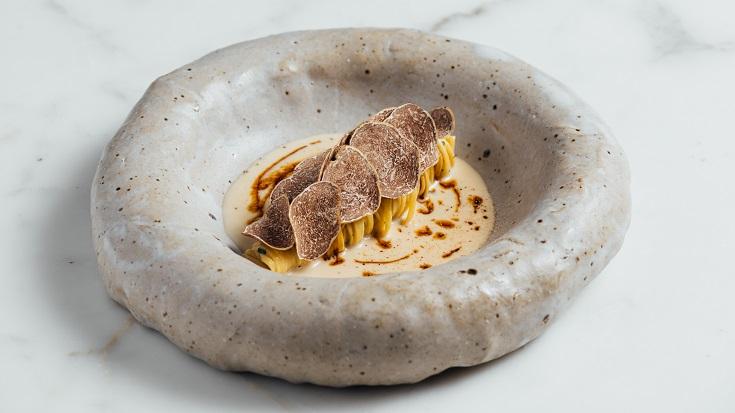 Chef Matteo Ponti's Tajarin with Alba white truffle, brasato jus and Parmigiano. (Photo: 28 Wilkie)