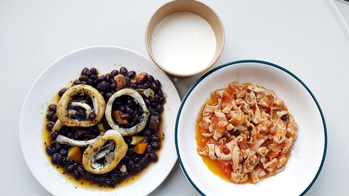 Calamars frais sur un lit de haricots noirs tolozan ; fraise de veau à la tomate et câpres ©Michelin