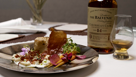 Roasted Chilean Seabass in Hazelnut Crust, Vanilla Scented Potato Gnocchi with Mascarpone Cheese and Crispy San Daniele Ham, paired with The Balvenie 14 Year Old Caribbean Cask