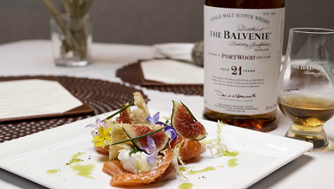 Lightly Smoked Scottish Salmon With Fresh Burrata Cheese, Lemon Zest, Toasted Almond And Fresh Figs, Served With Focaccia Bread, paired with The Balvenie 21 PortWood