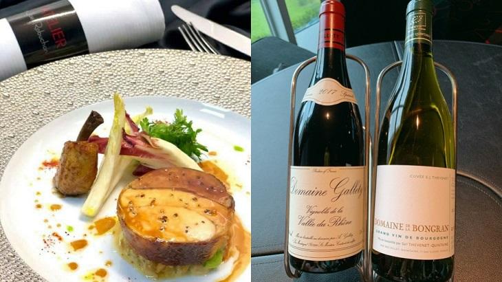 嫩煎雞胸鴨肝捲佐沛爾特小麥與搭配的紅酒與白酒。(圖片由侯布雄提供)