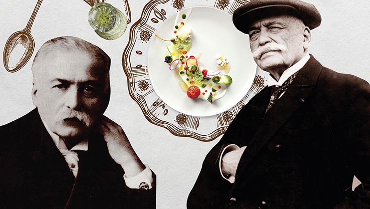 โอกุสต์ เอสกอฟีเย (Auguste Escoffier) เชฟคนแรก ๆ ที่ได้รับการยกย่องว่าเป็นช่างฝีมือระดับปรมาจารย์งานครัว (© www.britannica.com / Wikipedia)
