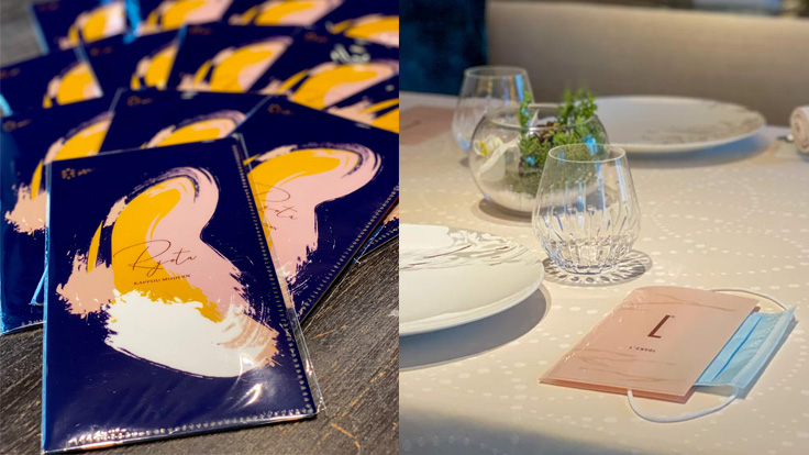 From left: Mask envelopes at Ryota Kappou Modern and L'Envol (Photo: Ryota Kappou Modern FB page, The St. Regis Hong Kong)